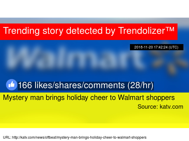 Mystery man brings holiday cheer to Walmart shoppers