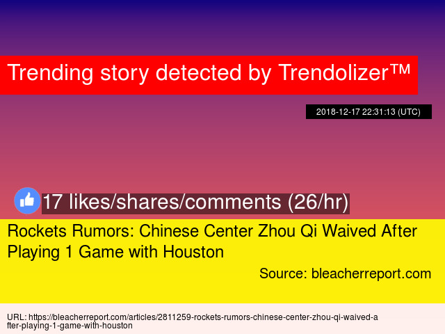 Rockets Rumors: Chinese Center Zhou Qi Waived After Playing