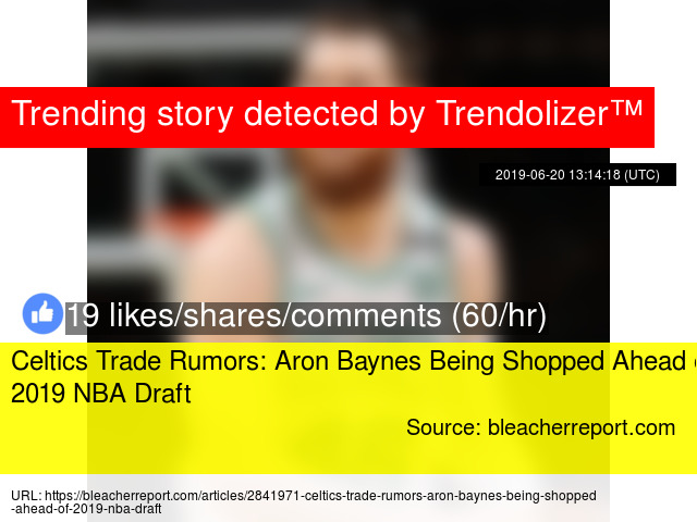 Celtics Trade Rumors: Aron Baynes Being Shopped Ahead of