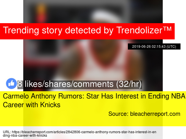Carmelo Anthony Rumors: Star Has Interest in Ending NBA