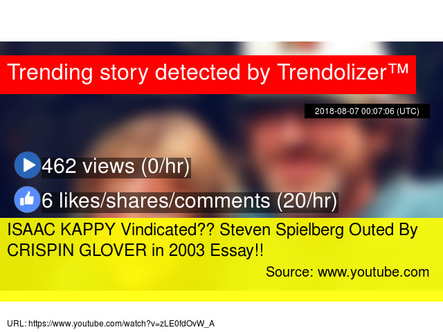 isaac kappy vindicated steven spielberg outed by crispin glover in  steven spielberg outed by crispin glover in  essay
